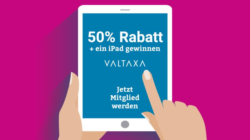 50 % Rabatt und ein iPad gewinnen
